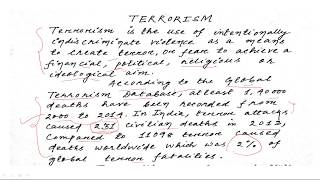 ESSAY ON TERRORISM SSC/IB/BANKING BY Let's talk English IN HINDI