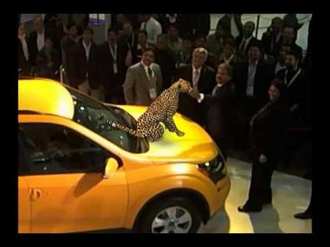 Mr Anand Mahindra interacts with the virtual cheetah at Auto Expo 2012!