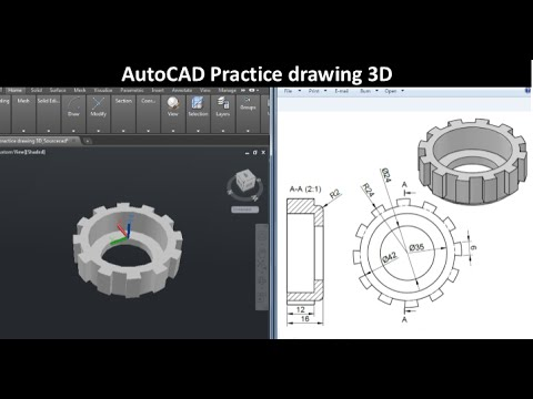 AutoCAD Practice Drawing 3D : SourceCAD - YouTube