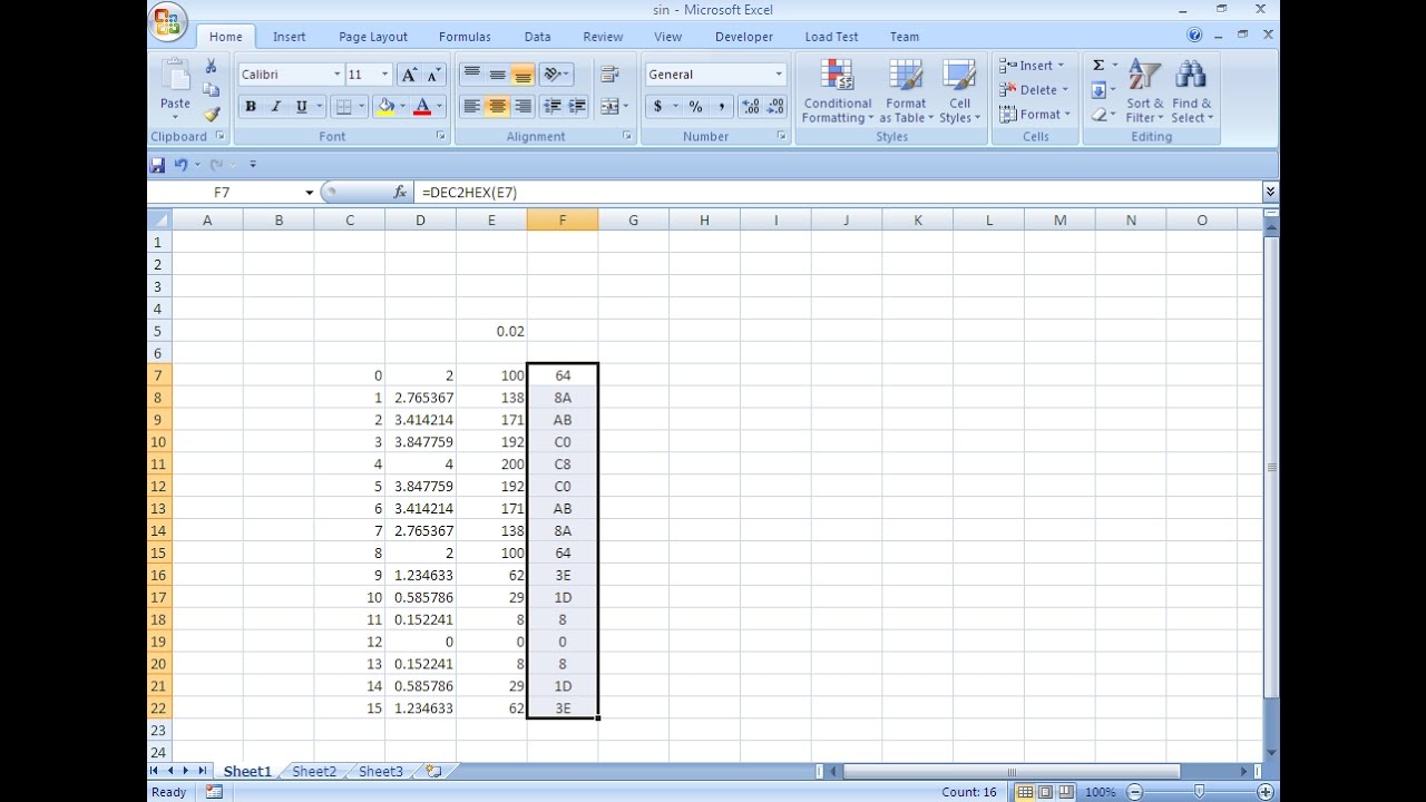 Using Excel to create Sin wave look up table