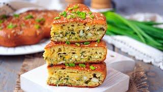 Пирог с зеленым луком и яйцом (из жидкого теста) — видео рецепт