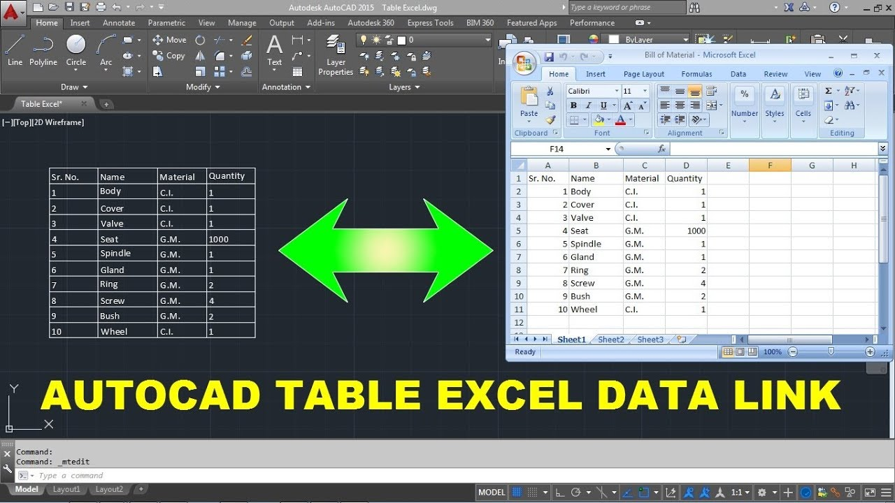How to Link Excel Table to AutoCAD | AutoCAD Table Data Link | AutoCAD  Excel Data Link Table Update
