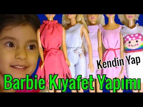 DIY / Kendin Yap / 5 Farklı Barbie Elbise Yapımı / 3 Dikişsiz Elbise / Barbie Kıyafet Yapımı