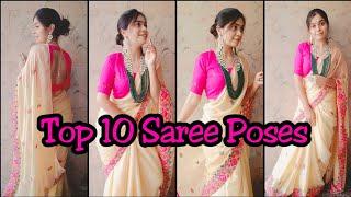 Top 10 Saree Poses Beautiful Poses For Girls Standing Poses  N Saree Santoshi Megharaj