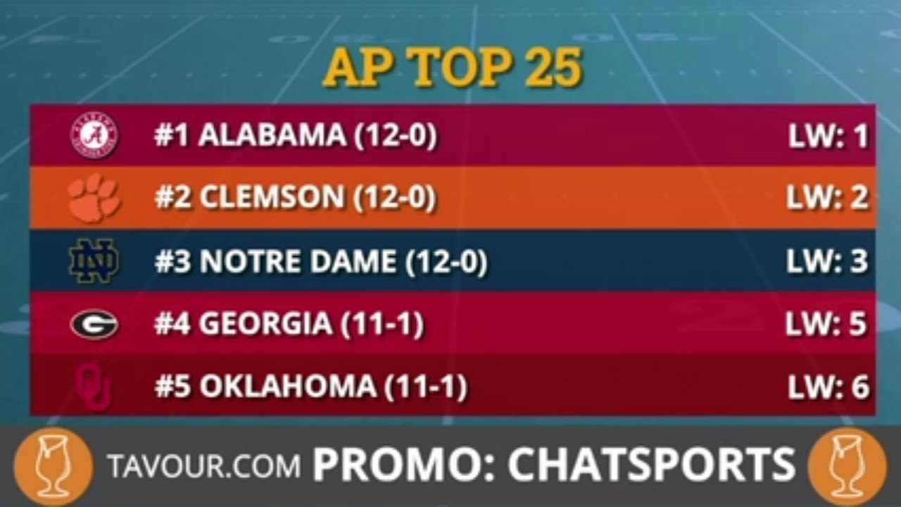 Ap Poll College Football Top 25 Rankings For Week 14 Youtube