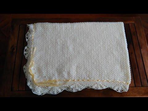 Manta para bebé con puntilla: Como ganchillar o tejer una manta para ...