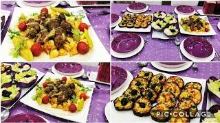 كفتة مشوية في الكوكوط💜مقبلة الباذنجال بذوق البيتزا💜 تقديم طاولة بنفسجية بمساعدة لجين