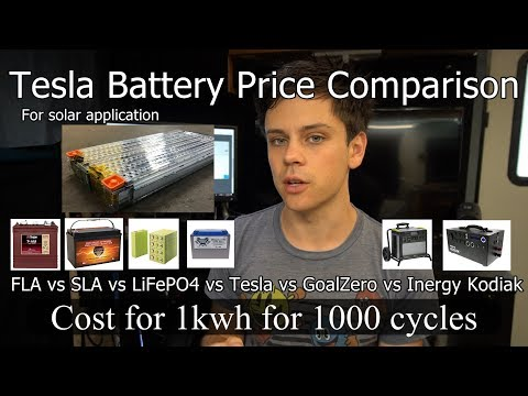 Off-grid Solar Battery Price Comparison: Tesla vs. FLA vs. SLA vs. LiFePO4 vs. Tesla