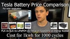 Off-grid Solar Battery Price Comparison: Tesla vs. FLA vs. SLA vs. LiFePO4 vs. Tesla