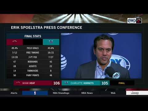 Erik Spoelstra -- Miami Heat at Charlotte Hornets 01/20/2018