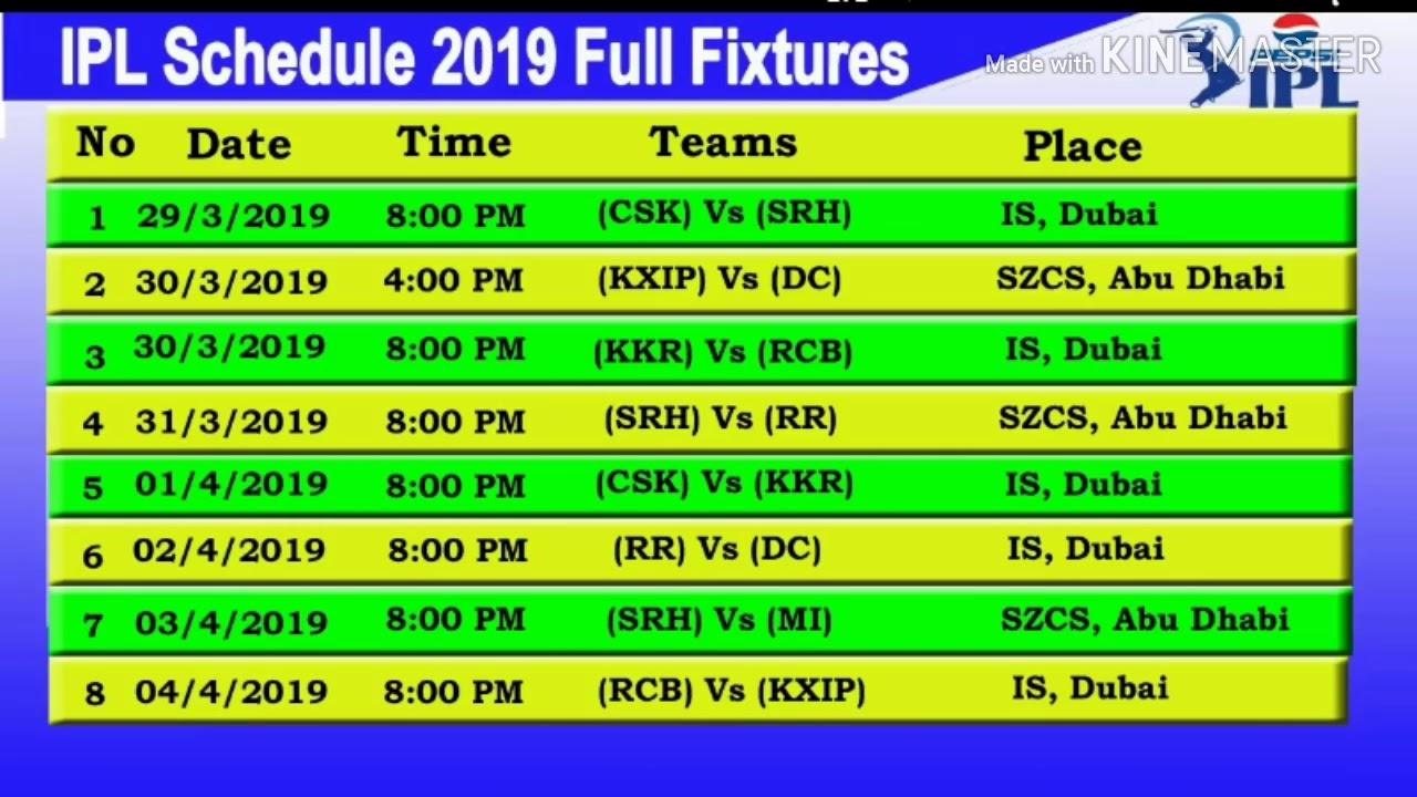 vivo ipl 2019 match schedule pdf download
