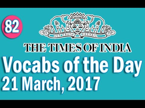 The Times of India Vocabulary (21 March, 2017) - Learn 10 New Words with Tricks | Day-82