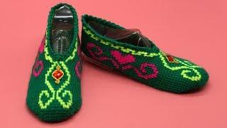 Тапочки крючком. Тунисское вязание. Следки крючком. (crochet slippers)