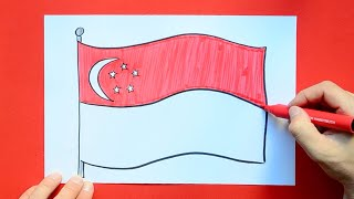How to draw and color the National Flag of Singapore