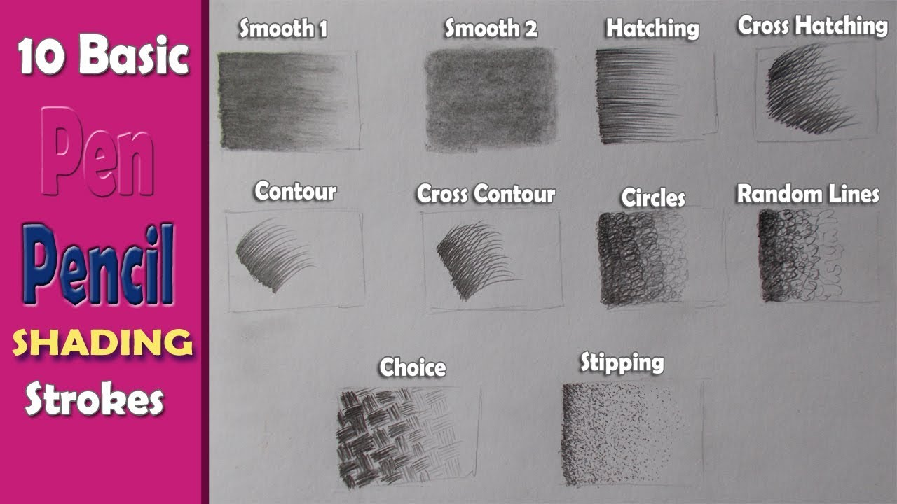 10 basic penpencil strokes beginners introduction basic pencil shading art with swapan