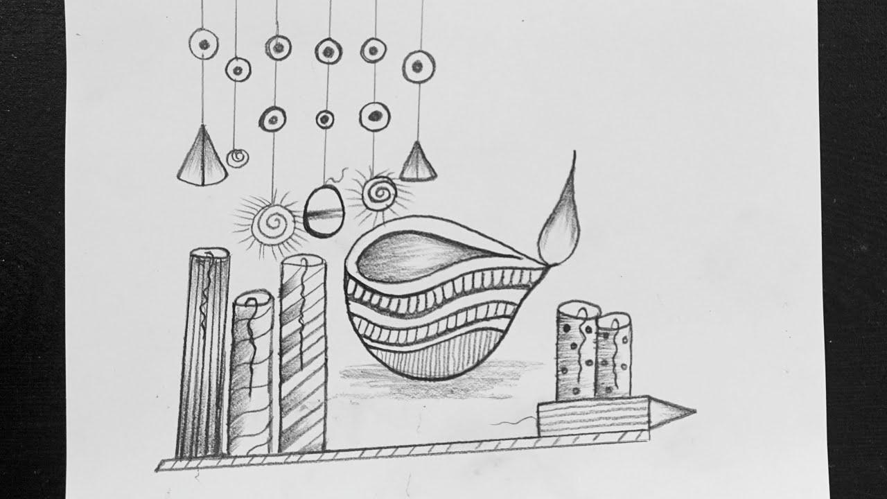 Pencil drawing for diwali easy diwali celebration pencil drawing easy diwali drawing for kids