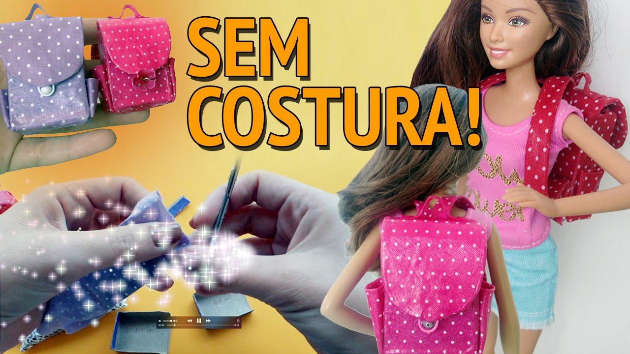 949d7030ec587 Como fazer Mochila Escolar sem Costura para Barbie e outras bonecas! -  YouTube