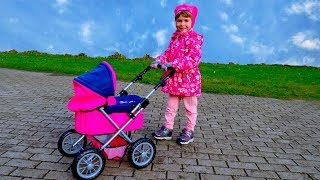 Arina wake up and Pushing Baby Alive in a Pram Toys for Girls Stroller and Doll