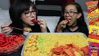 MAC AND CHEESE, FLAMIN HOT CHEETOS MUKBANG | EATING SHOW