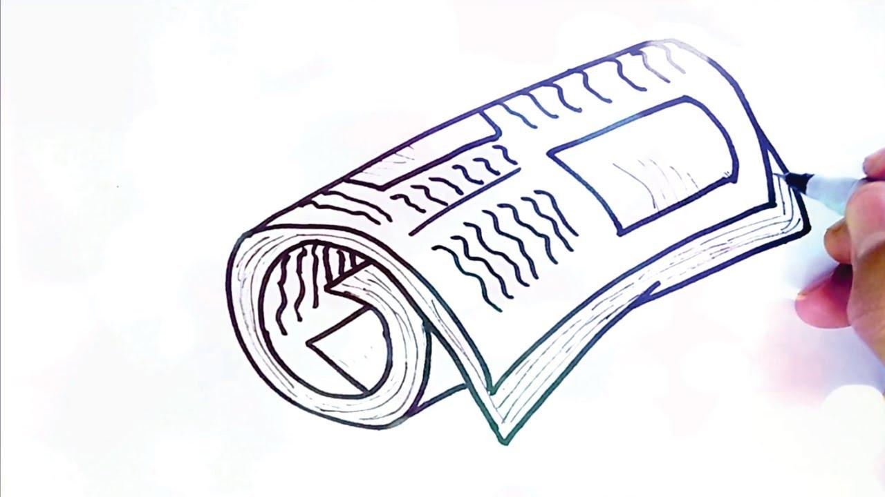 COMO DIBUJAR UN PERIÓDICO paso por paso | dibujos para niños | como dibujar  el diario paso por paso - YouTube