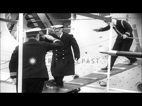 USS Augusta departs to Manila. HD Stock Footage
