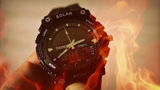 Китайские наручные часы на солнечной батарее. ТЕСТ ОБЗОР