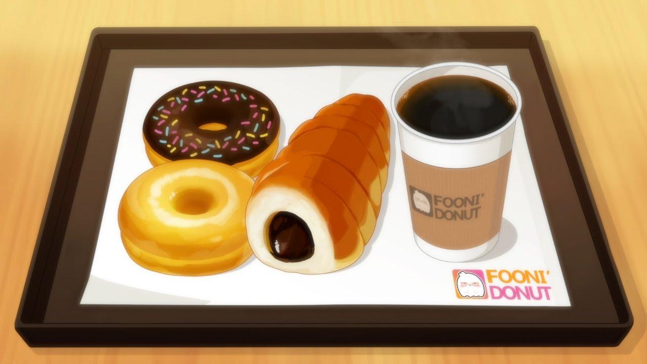 카페 디저트(도넛, 초코소라빵, 아메리카노) 애니먹방/dessert(donut,Chocolate Sora Bread, americano)/animation mukbang