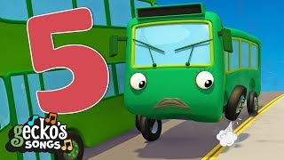 5 Green Buses Song |  Learn to Count | Nursery Rhymes & Kids Songs | Gecko's Garage | Baby Buses