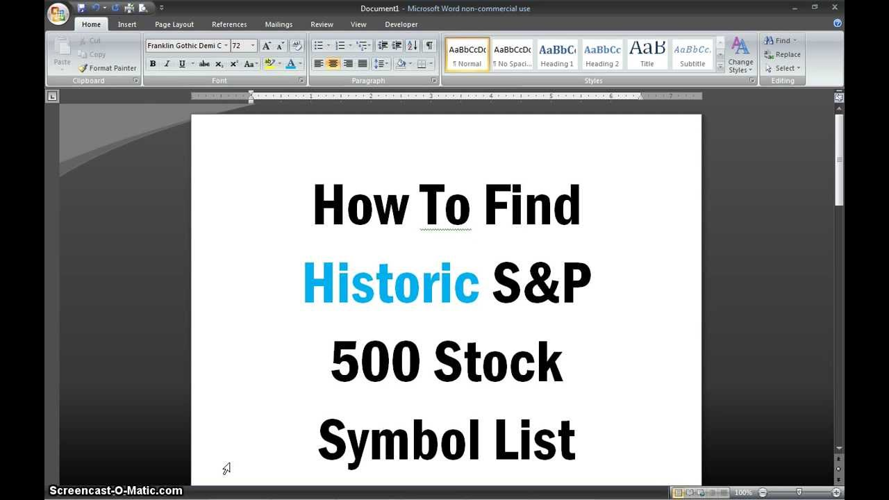 How to find historic sp 500 stock symbol list youtube how to find historic sp 500 stock symbol list biocorpaavc