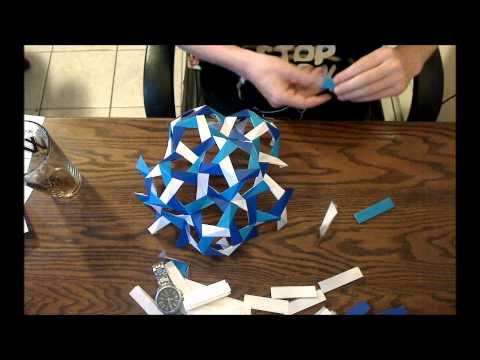 72-Sided 180-Piece Modular Origami Polyhedron Timelapse