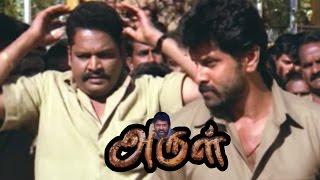 Arul   Arul full Movie Scenes   Vikram and K S Ravikumar warns Kollam Thulasi   Vikram Mass scene