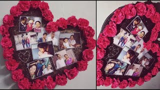Diy home decor, wall hanging, photo frame 😍 easy diy project. Perfect for gifting heart shaped diy! Video