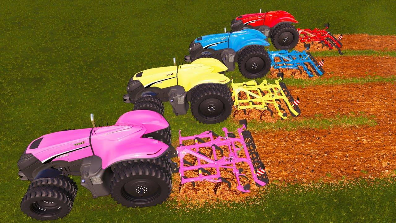 TRACTORS vs CULTIVATORS! | AUTONOMOUS TRACTORS and MULTICOLOR JOB! Farming Simulator 19