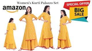 kurta with Palazzo set I Arayna Women's Rayon Kurti Palazzo Set-Amazon Kurta Palazzo Set 2020