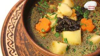 Постный грибной суп с жемчужным кускусом. Очень вкусно и ароматно.