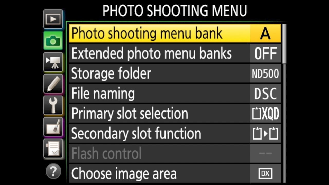 nikon d500 photo shooting menu walkthrough youtube