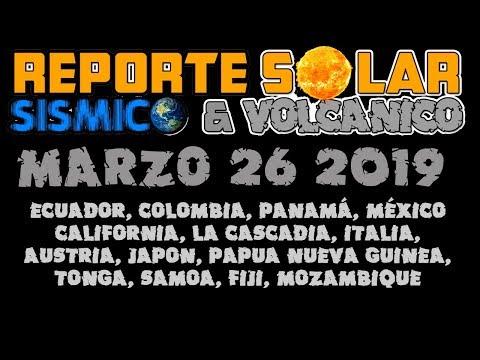 REPORTE SOLAR SÍSMICO Y VOLCÁNICO - MARZO 26 2019