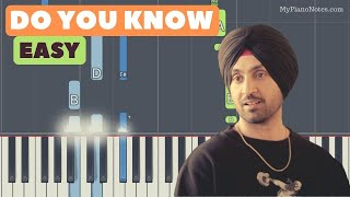 Do You Know Piano Tutorial with Chords | Punjabi Song by Diljit Dosanjh | Easy