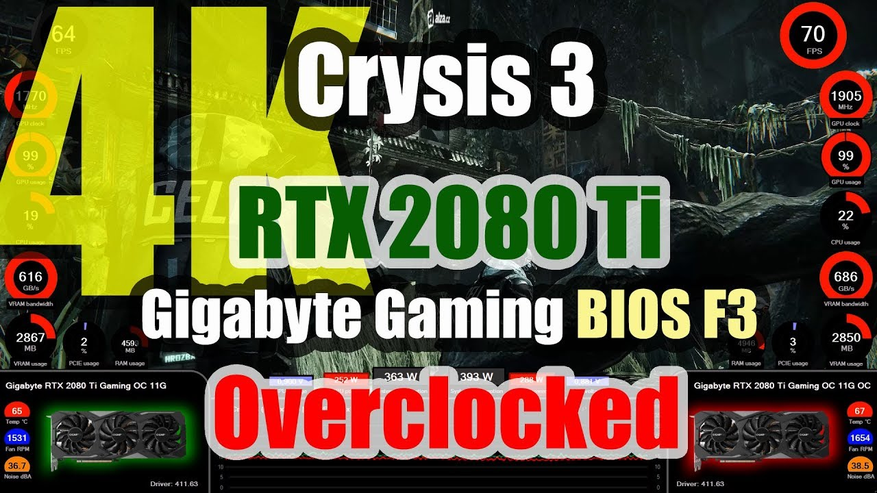 Crysis 3 (4K) - Gigabyte RTX 2080 Ti Gaming OC 11G Overclocked (NEW BIOS F3)