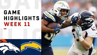 Broncos vs. Chargers Week 11 Highlights | NFL 2018