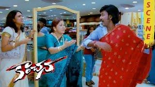 Raghava Lawrence Wearing Red Saree - Kovai Sarala Comedy - Kanchana Movie Scenes
