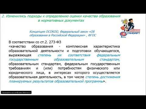 Вебинар «Формирование внутренней системы оценки качества образования в соответствии с ФГОС»