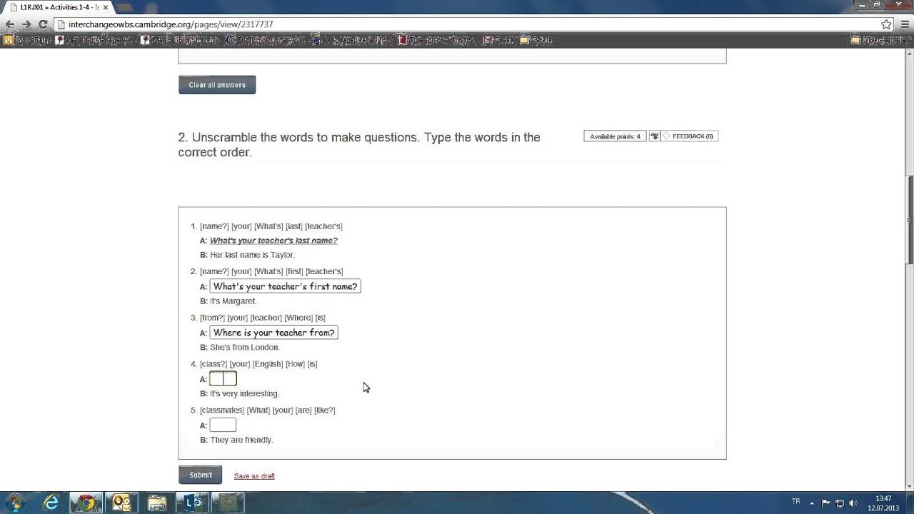 Workbooks interchange fourth edition online workbook : Interchange Online Workbook Activity Sample - YouTube