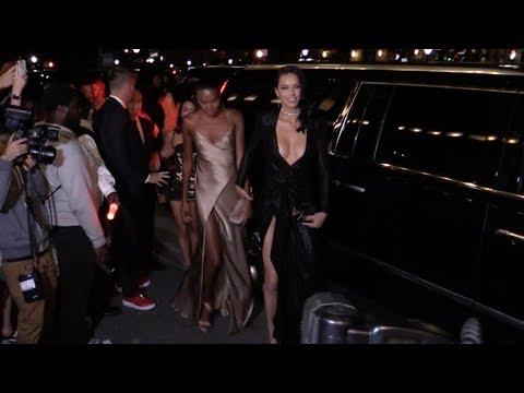 Irina Shayk, Adriana Lima and Maria Borges arriving at the Harper s Bazaar party