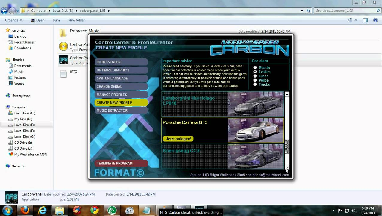 need for speed carbon unlock cars trainer