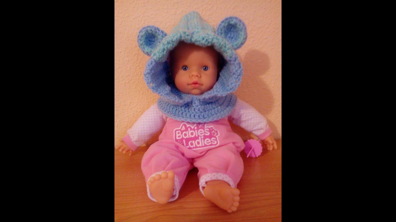 Gorro con capucha de animalitos para bebe a crochet youtube for Adornos para pieza de bebe