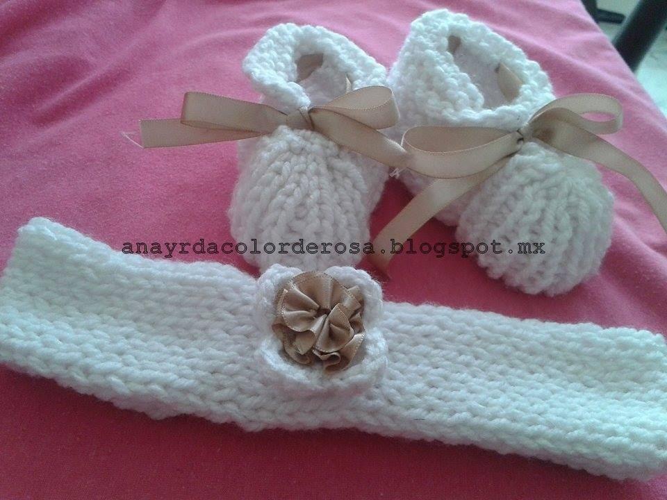 zapatos y banda para el cabello para bebe tejidos a dos agujas 2/2 ...