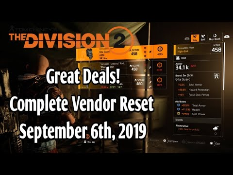 The Division 2 - Great Buys! Complete vendor Reset {Sept 6th, 2019}
