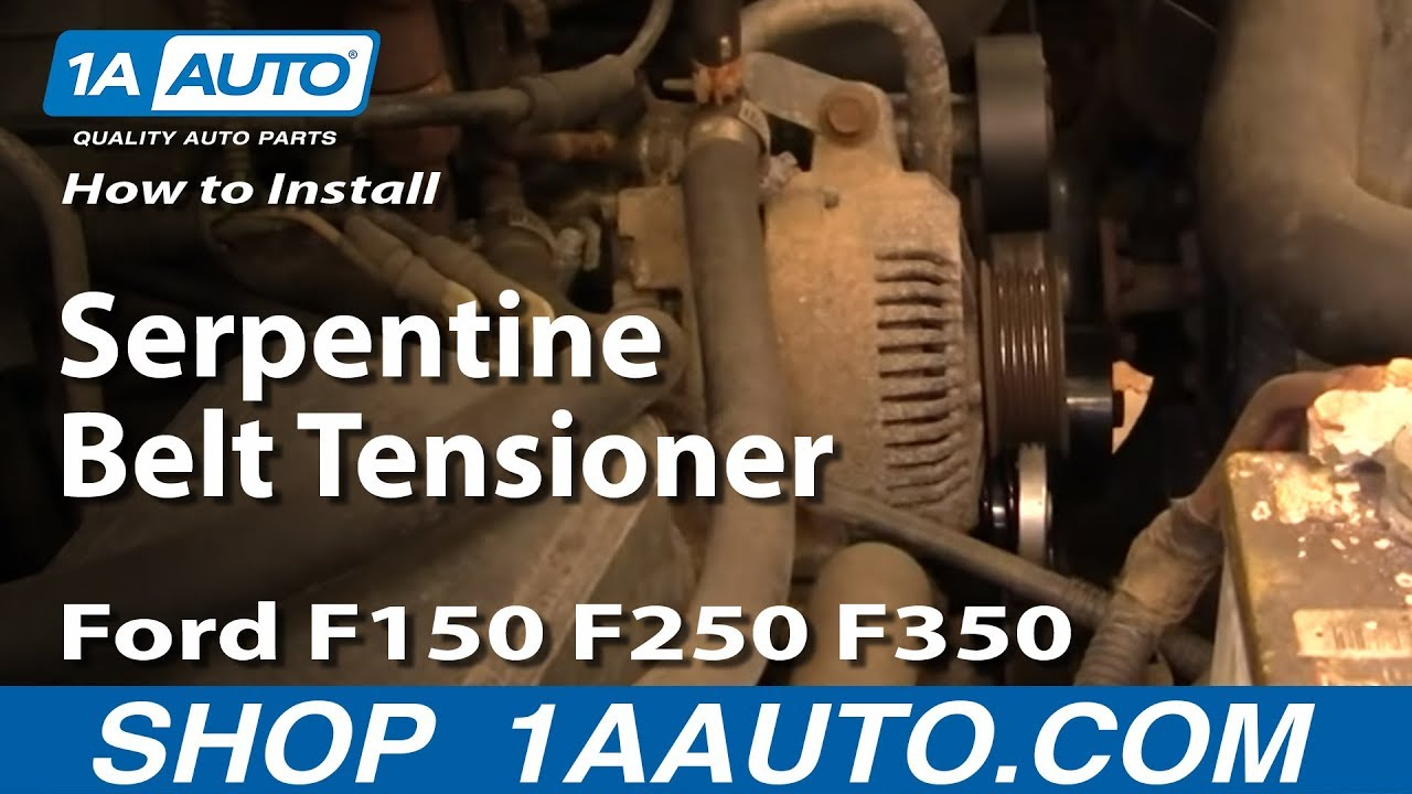 how to replace serpentine belt tensioner ford 92 96 f150 250 350 1a auto [ 1280 x 720 Pixel ]