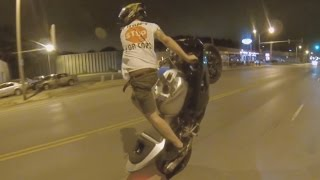 INSANE Street Bike STUNTS Motorcycle WHEELIE Sport Bike Stunt Rider WHEELING ILLEGALLY 2016